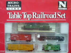 Details About Burlington Northern Atlas Gp 7 1574 N Scale Micro Trains Table Top Set Nib