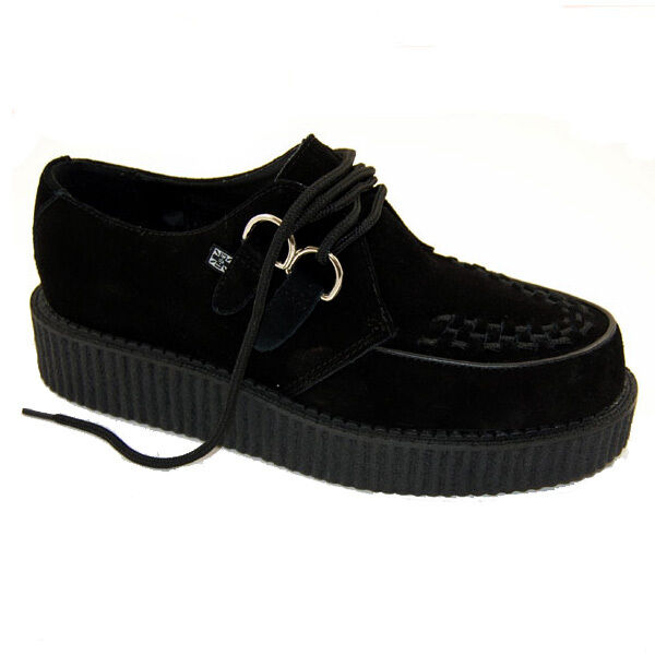 T.U.K V7270 Black Action Leather Low Round Creeper