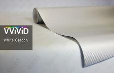 "10ft x 60"" 3D white carbon fiber vinyl car wrap sheet roll film sticker decal"