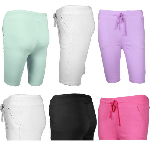 WOMENS LADIES KNEE LENGTH SUMMER SHORTS SLIM FIT TROUSER STRETCH PANTS LEGGINGS