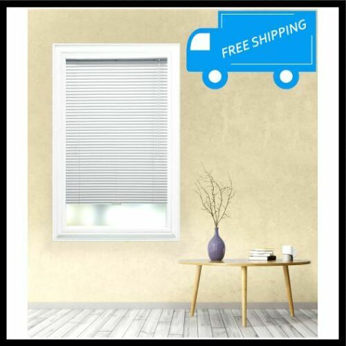 50.5x48 in White Aluminum Mini Blind Cordless Room Darkening Privacy Shade Wand