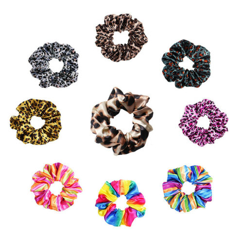 Colorful Ponytail Hair Rope Holder Ties Band Scrunchies Elastic Rubber Leopard