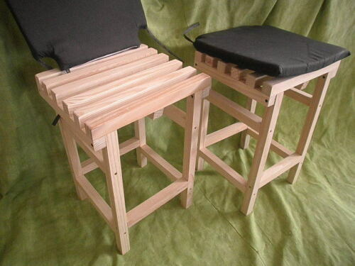 satz 2 Hocker Lattenrost Holz Hoch Mit Kissen 52 Cm
