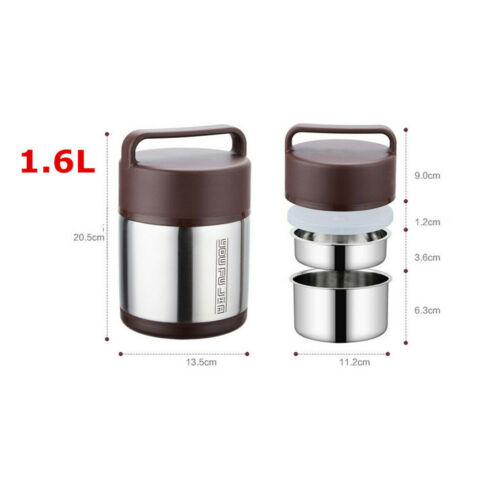 Stainless Steel Vacuum Insulated Lunch Box 3 Tier Jar Hot Thermos Food Container