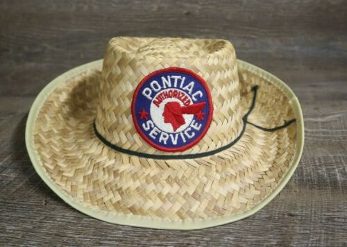 Vintage Pontiac Service Patch Straw Hat Cap Rare … - image 1