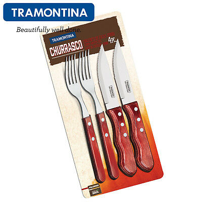 Grillen Besteckset FSC TRAMONTINA ® Churrasco JUMBO-Steakmesser-Gabel-Set 12tlg