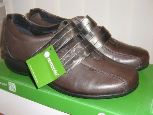 Remonte Rieker Brown//Grey Leather Touch Strap Casual Shoe Small Wedge Heel SALE