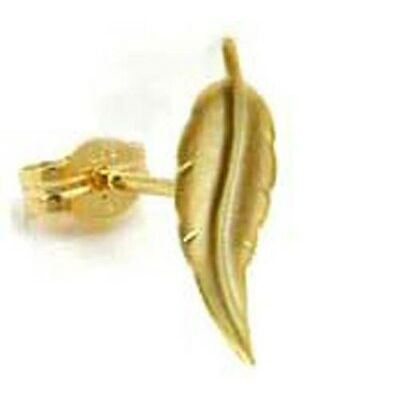 ECHT GOLD *** Herren Einzel-Ohrstecker Blatt, 12 mm, matt-diamantiert