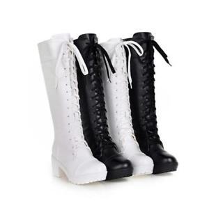 Women-Cosplay-Lace-Up-Chunky-Block-Heels-Knee-High-Boots-Lolita-Gothic-Shoes-sZ