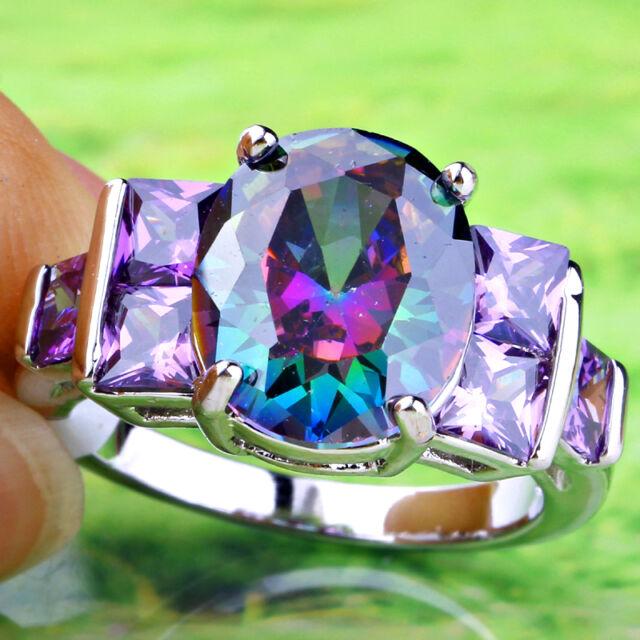 Exalted Oval Cut Rainbow Topaz & Amethyst Gemstone Silver Ring Size 6 7 8 9 10
