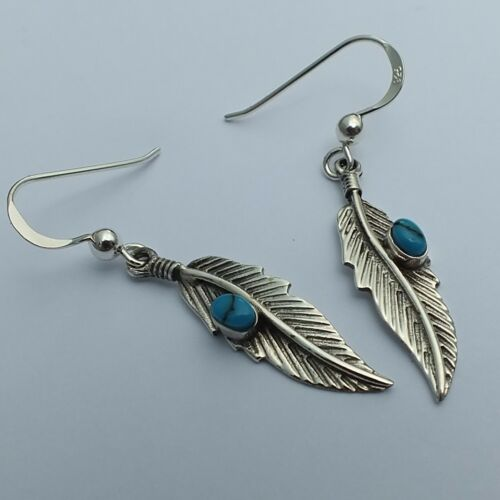 Indianerschmuck Ohrringe Türkis Ohrhänger Silber 925 Indianer Feder Turquoise