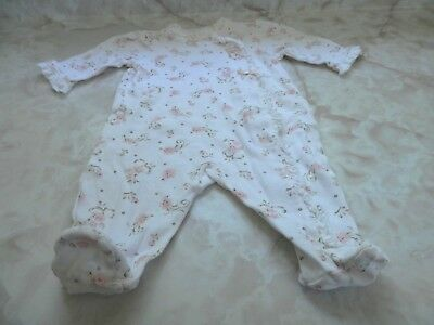 Little Me Floral Ruffle Bow Footed Romper Hat /& Keychain Off-White 3 Mth