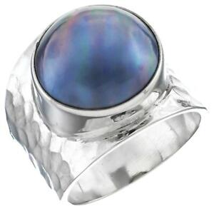 Blue-Mabe-Cultured-Pearl-Bali-Handmade-Hammered-925-Sterling-Silver-Ring