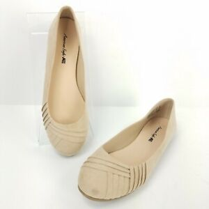 American-Eagle-Shoes-Size-7-5-Tan-Ballet-Flats-Wrap-Style-Slip-On-Espadrilles