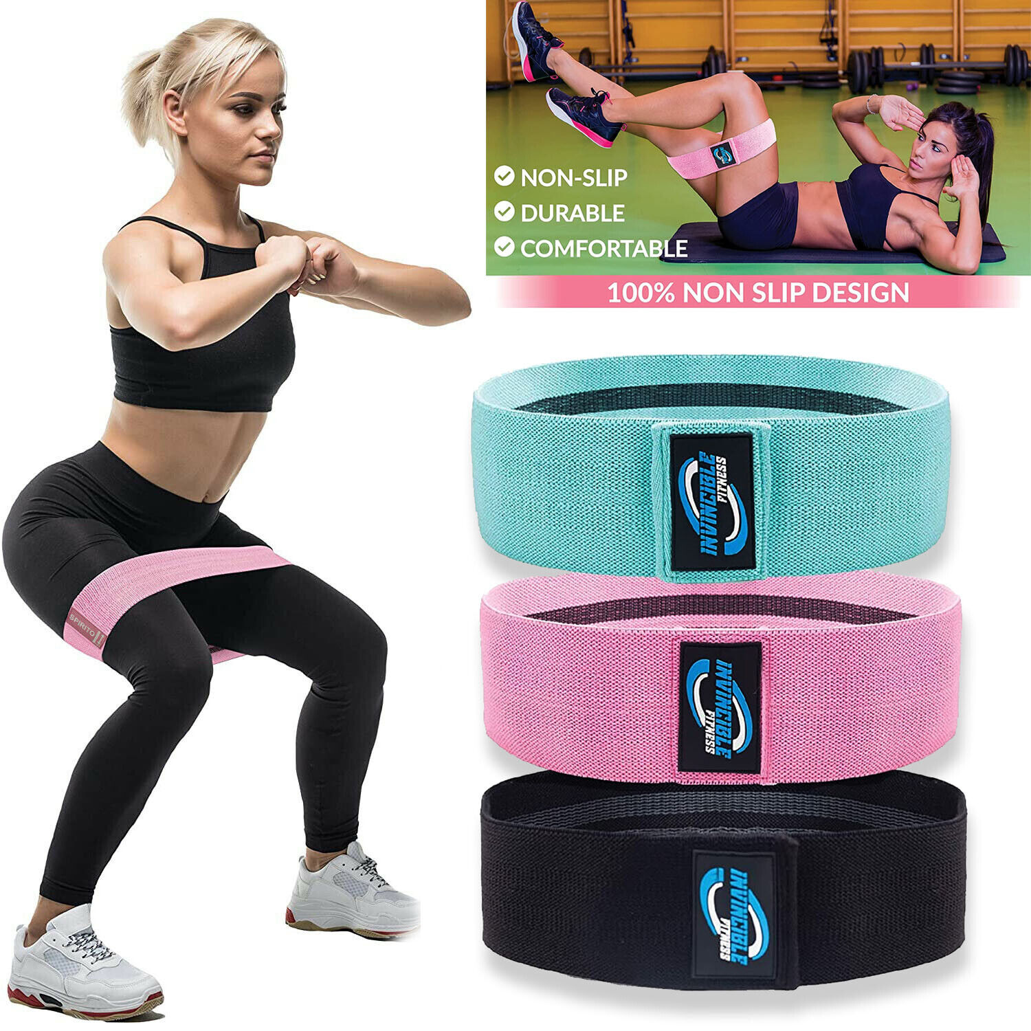 CrossFit Exercise Yoga Fitness Hip Leg Booty Resistance 3 Bands Loop Workout Set