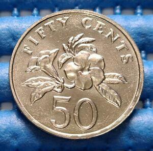 1994 Singapore 50 Cents Yellow Allamanda Flower Coin
