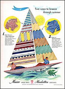 1946 Manhattan Shirts men sea Sail Boating color sails vintage art print ad L76