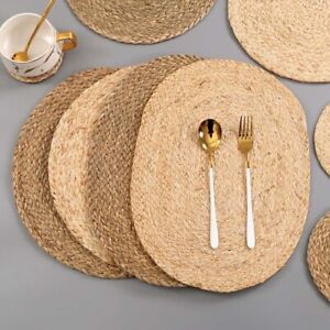 Set of 4 Hand Braided Placemats Rustic Vintage Farmhouse Table top Dining mats