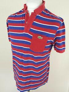 Para-Hombres-Camisa-Polo-Lacoste-Rojo-Azul-a-Rayas-Medio-42-pecho