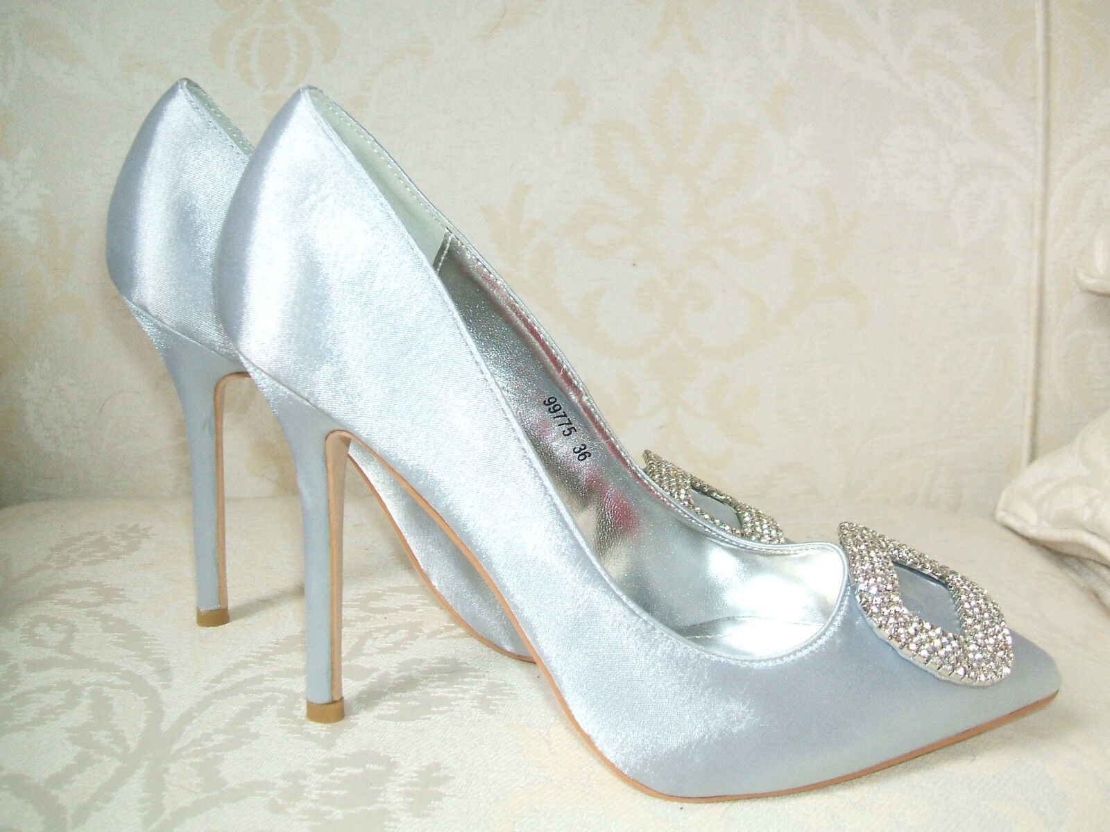 BN SIZE 2.5 3 3.5 4 5 6 DIAMANTE 7 SILVER GREY SATIN DIAMANTE 6 WEDDING OCCASION Schuhe BAG 214966