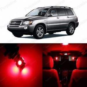 10 x Red LED Interior Lights Package For 2001 - 2007 Toyota Highlander + TOOL