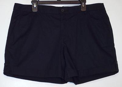 NWT Liz Claiborne Classic Sits Above Waist Stretch Cuff Leg Shorts 16 18 Navy