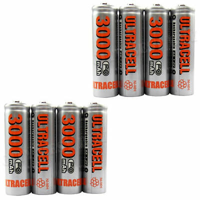 New 4 x 3000 mAH AA Ni-Mh Rechargeable Batteries 1.2 V ULTRACELL HIGH CAPACITY