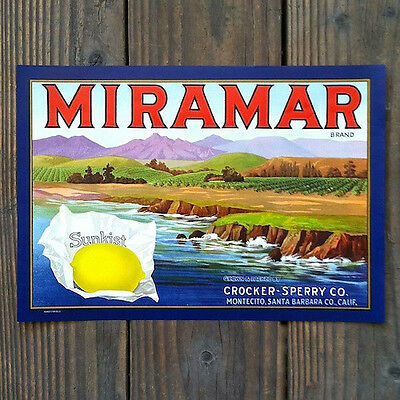 Vintage Original MIRAMAR SUNKIST LEMON CITRUS Crate Box Label Unused NOS