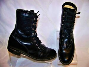 JUSTIN-STYLE-L0506-BLACK-LEATHER-WOMEN-039-S-BOOTS-SIZE-6B-MADE-IN-THE-U-S-A