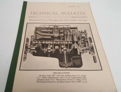 1934 DESOTO AIRFLOW Service Procedure Service Bulletin