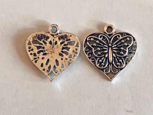 Tibetan Alloy Antique Silver Filigree style Heart Butterfly Pendants Charms
