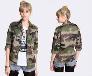 Vintage-Women-039-s-French-F2-camo-jacket-coat-surplus-army-military-camouflage