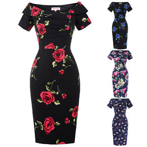 Women-Vintage-Retro-50s-Floral-Pencil-Wiggle-Evening-Dress-Formal-Bodycon-4-18