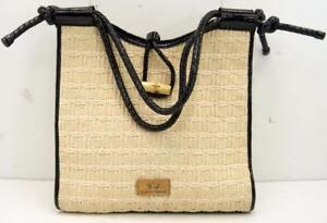 Elaine Turner Straw/Leather  Women's Beige/Brown Shoulder Bag