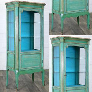 Salonvitrine-Vert-Suede-Gustavian-Style-Vitrine-Cabinet-Vaisselier-Buffet