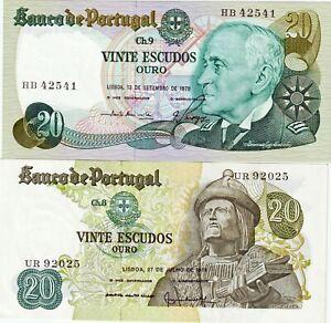 PORTUGAL-Lot-billets-2-X-20-escudos-1971-1978-NEUFS-UNC