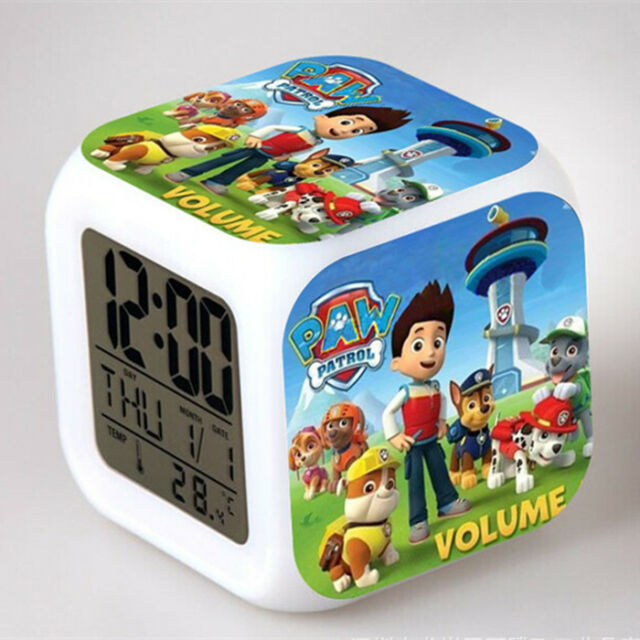 Kids Children Baby 7 Color Changing Night Light Table Lamp Alarm Clock Watch Toy