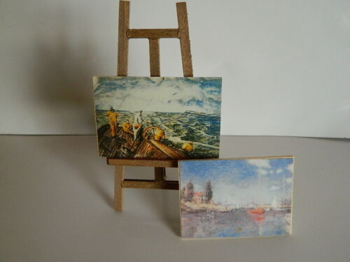 (M4.22) 1/12th scale DOLLS HOUSE WOODEN EASEL AND TWO PICTURES