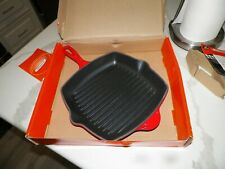 """NEW LE CREUSET CHERRY SIGNATURE 10-1//4/"""" SQUARE SKILLET GRILL PAN #18047"""