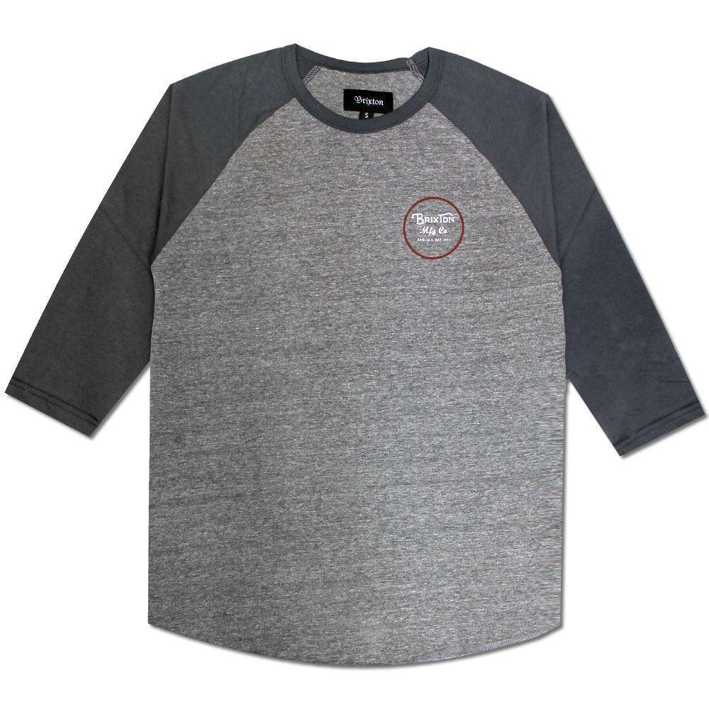 Brixton Wheeler 3 4 Sleeve T-Shirt Grey bluee