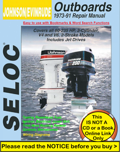 Johnson Evinrude 60hp 235hp Outboard Factory Service Repair Manual 1973 1991 Ebay
