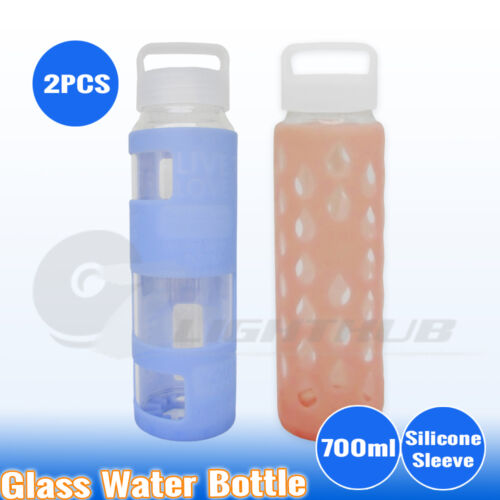 2x700ml Office Glass Water Bottle Yoga Outdoor Sport Training Camping Gym Kettle