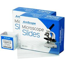 Amscope 100 Pre Cleaned Blank Microscope Slides 100 22x22mm Square Cover Glass