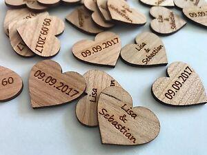 50 Streudeko Holz 3cm Herz Tischdeko Braut Brautigam Name Datum