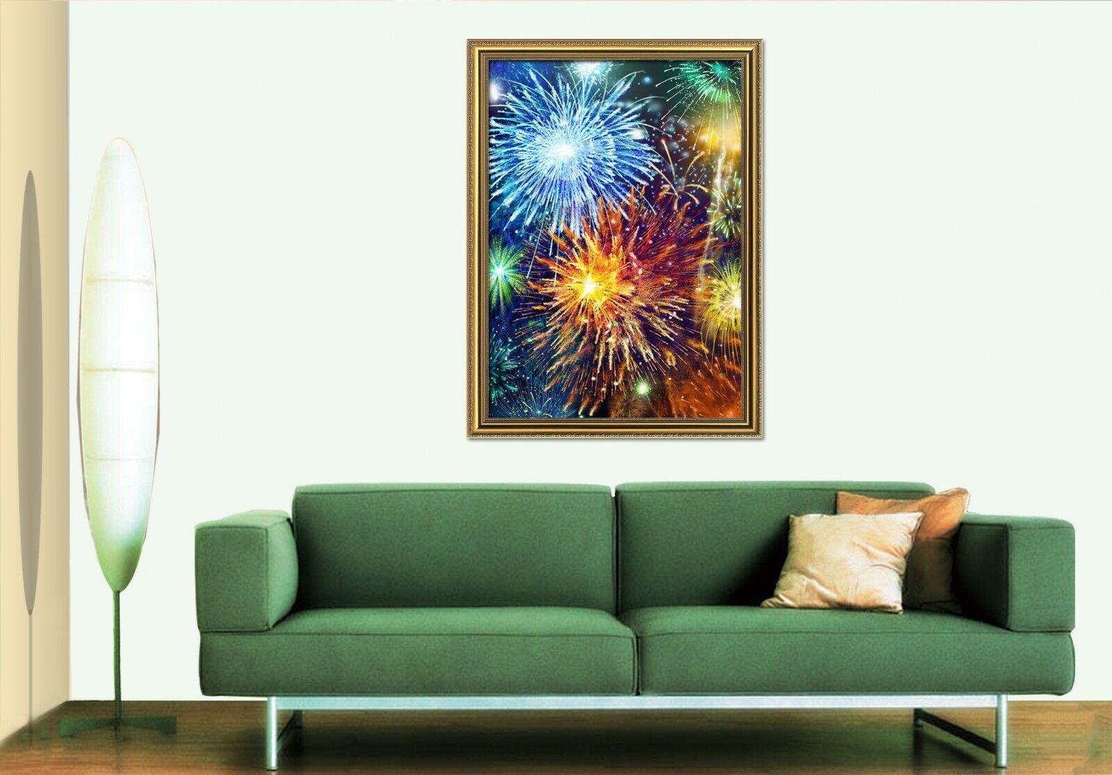 Cartel enmarcado 3D 2 fuegos artificiales de Colors Decoración del Hogar Pintura de Impresión Arte AJ Wallpaper