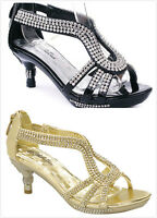 Kids Girl's Fashion Strappy Rhinestone Low Heel Dress Sandals Pumps Shoes