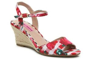 cf0109143c0 NEW - BETSEY JOHNSON Women's 'ATHENA' ESPADRILLE WEDGE SANDAL Red US ...