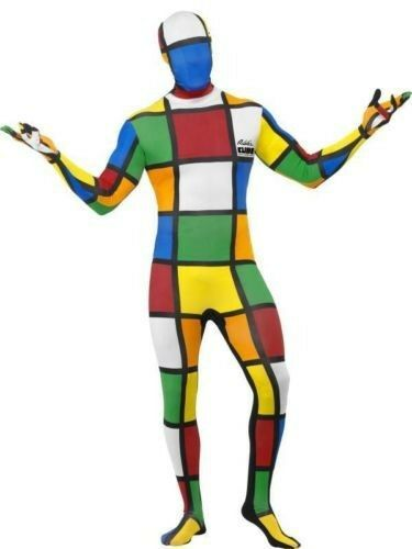 Men/'s 1980/'s Rubik/'s Cube Second Skin Suit Stag Fancy Dress Costume Fun Gaming