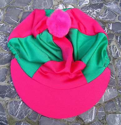 Riding Hat Silk Skull Cap Cover Hot Cerise Pink Amp Green