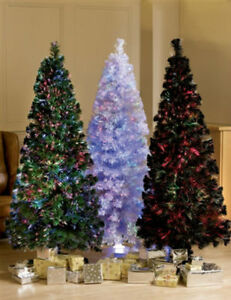 6ft 7ft fibre optic led green white black christmas tree slim led ebay